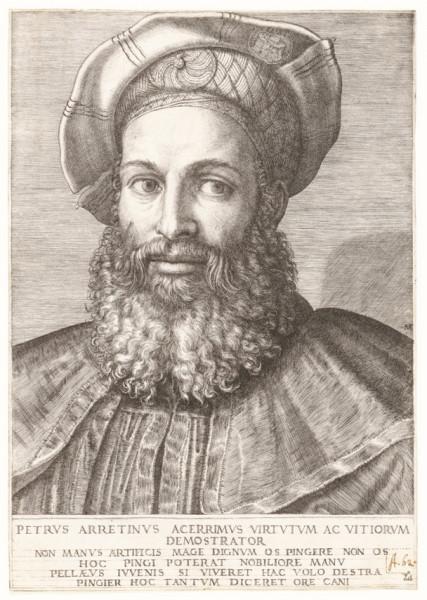 Portret Pietra Aretina, Marcantonio Raimondi, zdj. Wikipedia