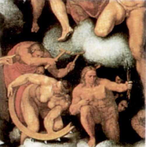 Marcello Venusti, św. Błażej i św. Katarzyna przed interwencją da Volterry, Sąd Ostateczny (1549), pałac Apostolski, zdj. Wikipedia