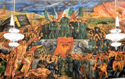 Malowidło przedstawiające Mussoliniego w znajdującym się opodal obelisku budynku dawnej Opera Nazionale Balilla
