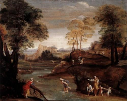 Domenichino, Krajobraz z przeprawą przez bród, Galleria Doria Pamphilj