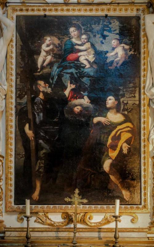 Domenichino, Madonna z Dzieciątkiem w otoczeniu śś. Jakuba i Filipa, kościół San Lorenzo in Miranda (zły stan zachowania)