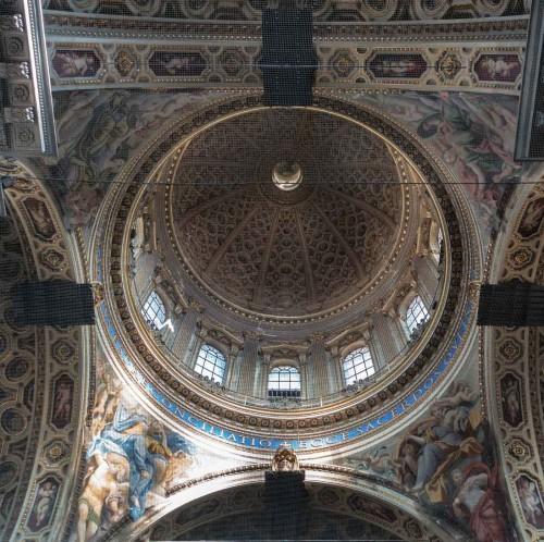 Domenichino, malowidła w żagielkach kopuły (zasłonięte siatką), kościół San Carlo ai Catinari