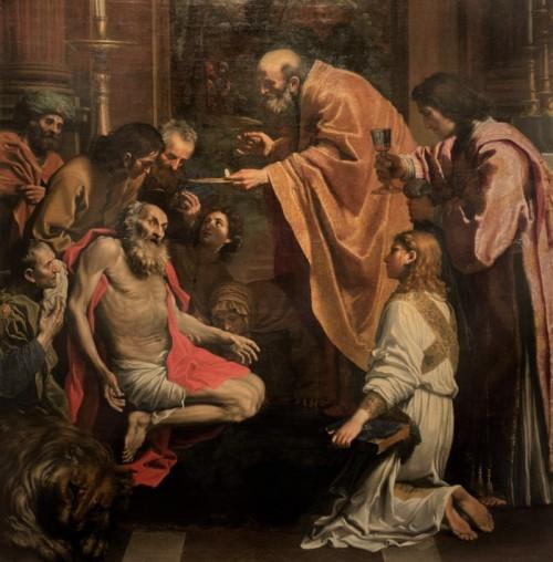 Domenichino, Ostatnia komunia św. Hieronima, fragment, Musei Vaticani - Pinacoteca Vaticana