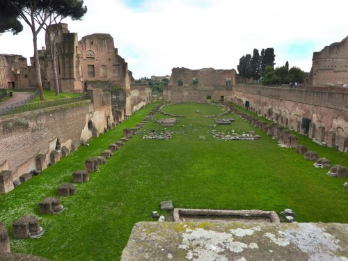 Remains of the so-called stadium, meaning the garden complex finished during the reign of Emperor Domitian, Palatine Hill