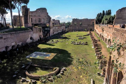 Remains of the garden arrangements, the so-called stadium, Palatine Hill