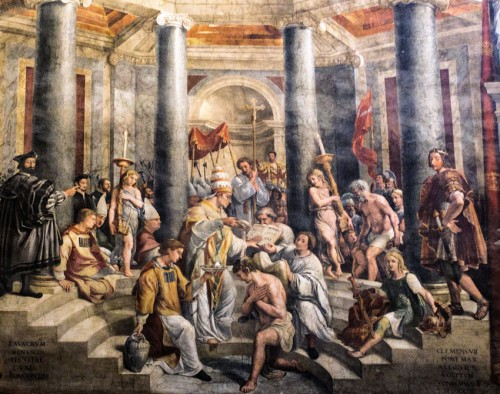 Baptism of Emperor Constantine the Great at the hands of Pope Sylvester I, XVI century, The Hall of Constantine, Apostolic Palace (Musei Vaticani)