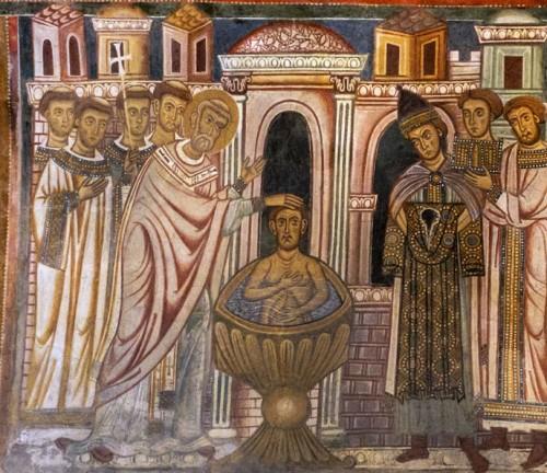 Chrzest cesarza Konstantyna z rąk biskupa Sylwestra, oratorium San Silvestro przy bazylice Santi Quattro Coronati