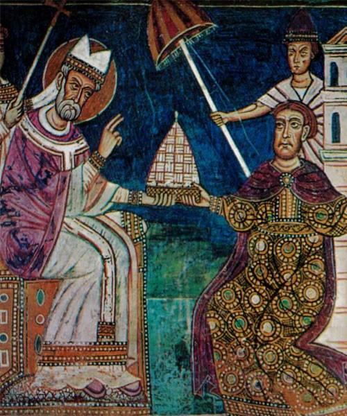 Oddanie cesarskiego frygium papieżowi, oratorium San Silvestro, bazylika Santi Quattro Coronati