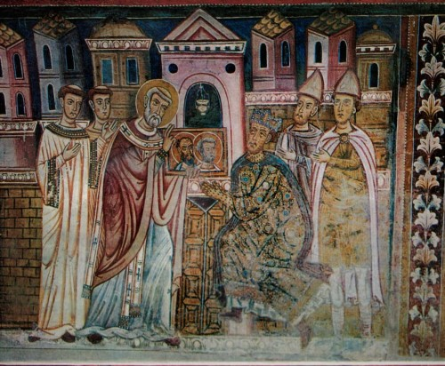 Pope Sylvester I shows the emperor images of the apostles who freed him from an illness, San Silvestro Oratory, Basilica of Santi Quattro Coronati