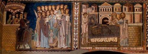 Scena ukazująca cesarza Konstantyna Wielkiego zmagającego się z chorobą, oratorium San Silvestro przy bazylice Santi Quattro Coronati