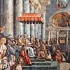 Emperor Constantine giving Pope Sylvester I a gold statue, symbolizing Rome, Giulio Romano and Francesco Peni, Hall of Constantine, Musei Vaticani