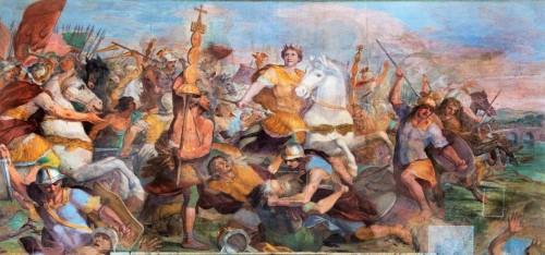 Constantine Defeats Maxentius at Milvian Bridge, Andrea Camassei, XVII century, San Giovanni Baptistery