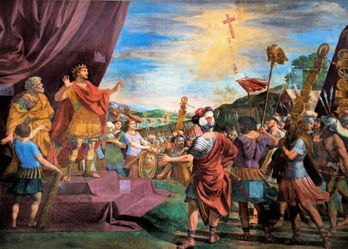 Święty krzyż ukazuje się cesarzowi Konstantynowi, Giacinto Gimignani, XVII w., baptysterium San Giovanni