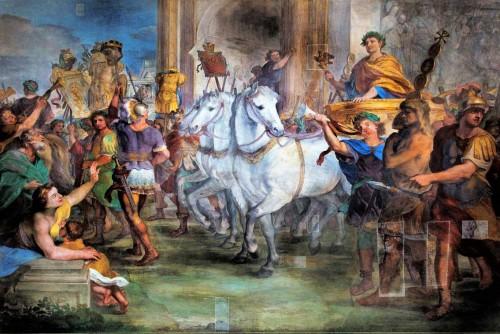 Triumfalny wjazd Konstantyna do Rzymu po zwycięstwie nad Maksencjuszem, Andrea Comassei, XVII w., baptysterium San Giovanni