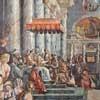 Cesarz Konstantyn przekazuje papieżowi Sylwestrowi I złotą statuetkę, symbolizującą Rzym, Giulio Romano i Francesco Peni, Sala Konstantyna, Musei Vaticani