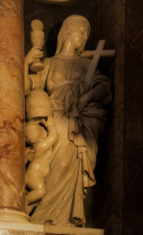 Cosimo Fancelli, alegoria Wiary z pomnika nagrobnego papieża Klemensa IX, kościół Santa Maria Maggiore