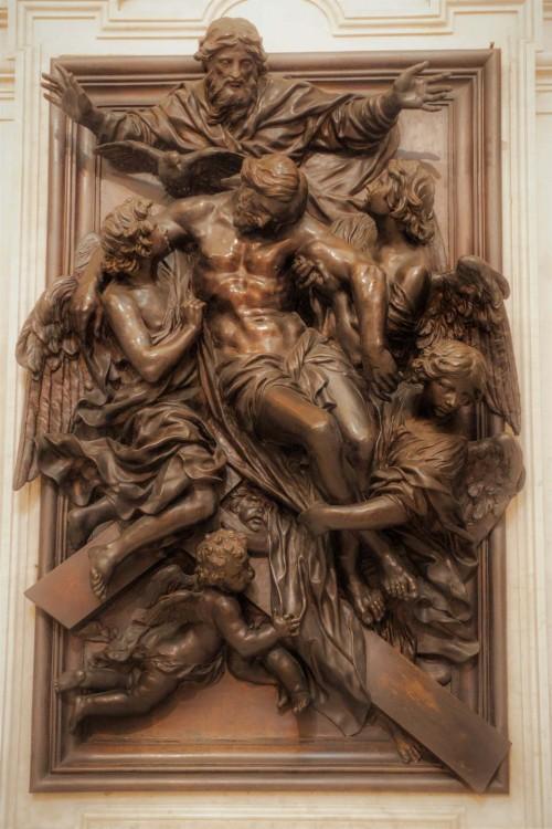 Cosimo Fancelli, ołtarz główny - Trójca Święta, kaplica Chigich, kościół Santa Maria della Pace