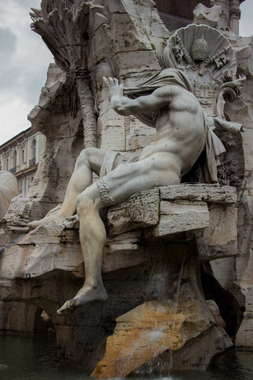 Cosimo Fancelli, posąg Nilu, Fontana dei Quattro Fiumi, Piazza Navona