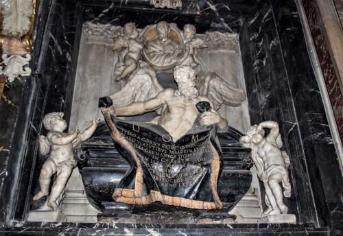 Ercole Ferrata, tombstone of Giulio del Corno, Church of Santissimi nomi Gesù e Maria