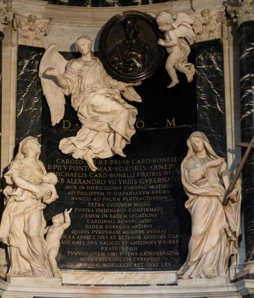 Ercole Ferrata, tombstone of cardinal Bonelli, two angels supporting the tondo of the deceased, Basilica of Santa Maria sopra Minerva