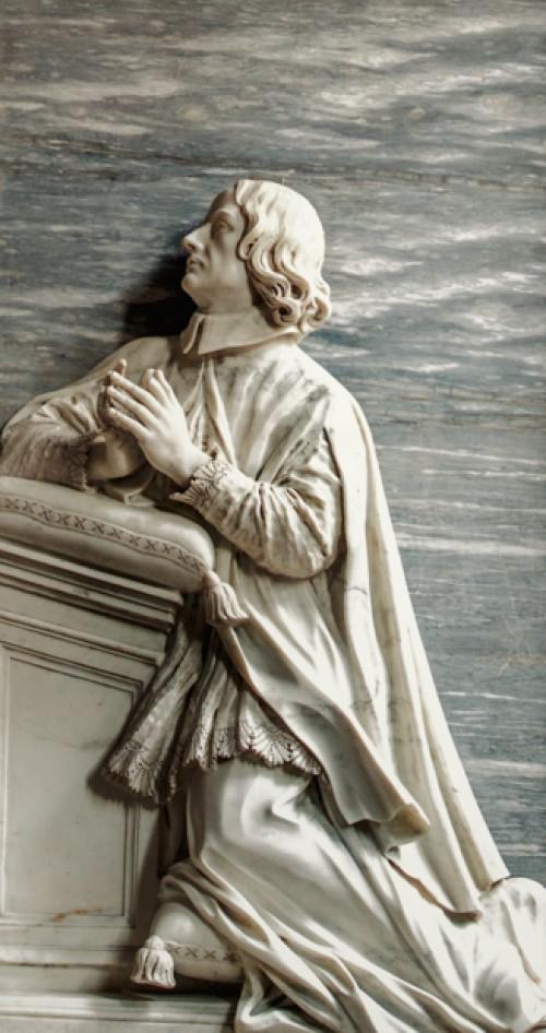 Giuliano Finelli, tombstone of Cardinal Francesco Adriano Ceva, fragment, San Giovanni Baptistery, Chapel of SS. Venantius and Domnius