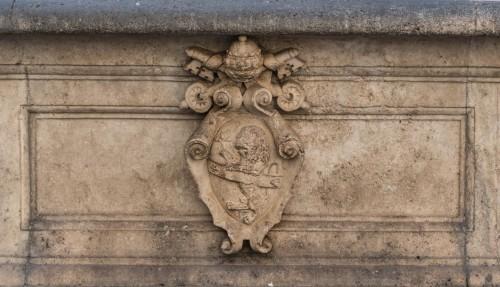 Fontana di Piazza della Madonna dei Monti, Giacomo della Porta, herb papieża Sykstusa V