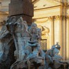 Lower part of the Fontana dei Quattro Fiumi (Fountain of the Four Rivers), allegories of the four rivers, Piazza Navona