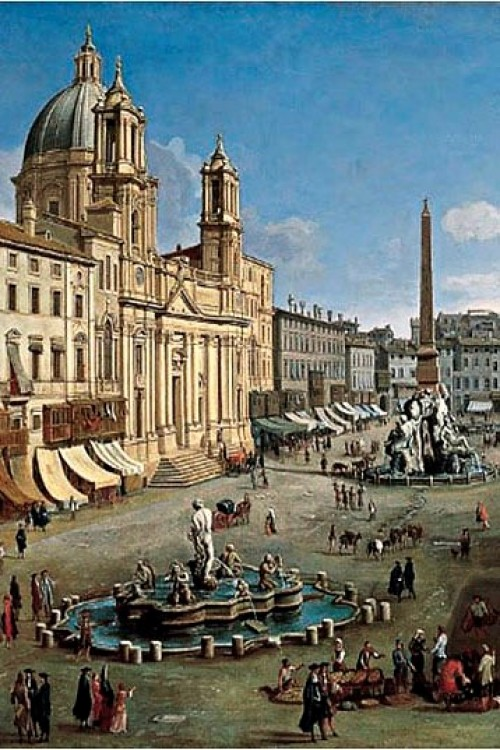 Fontana del Moro, Piazza Navona, Gaspare Vanvitelli, fragment, 1699, Museo Thyssen Bornemisza Madrid, zdj. Wikipedia