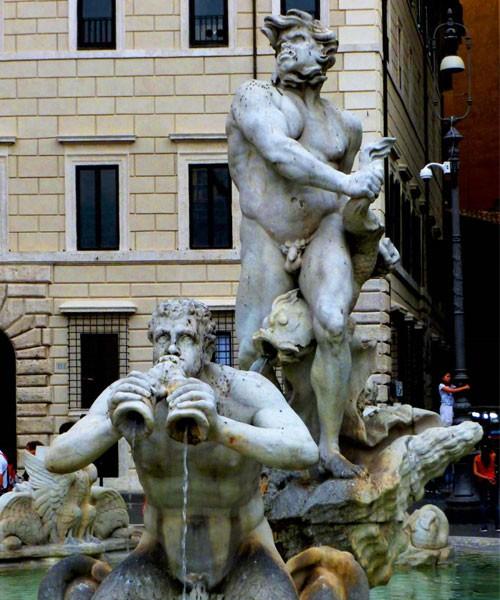 Fontana del Moro, postać Murzyna według projektu Gian Lorenzo Berniniego, Piazza Navona