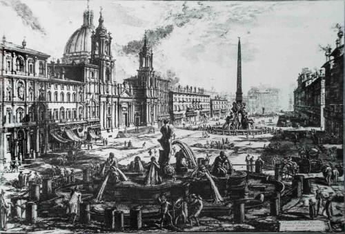 Piazza Navona, na pierwszym planie Fontana del Moro, rycina Gianbattista Piranesi, XVIII w.