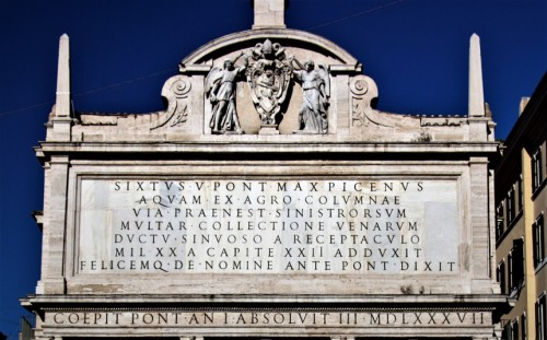 Fontana dell'Acqua Felice, inscription commemorating the construction of the fountain by Pope Sixtus V