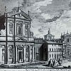 Fontana dell'Acqua Felice (on the right), on the left – Churches of Santa Susanna and Santa Maria della Vittoria, drawing Giuseppe Vasi, XVIII century