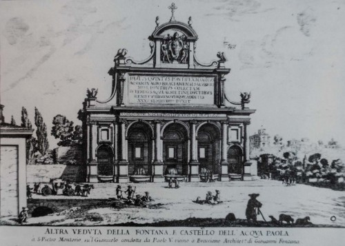 Fontana dell'Acqua Paola, rycina - Giovanni Battista Falda, II poł. XVII w.