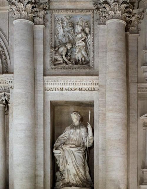 Fontana di Trevi, alegoria Zdrowia i relief - Dziewica wskazująca rzymskiemu żołnierzowi żródło