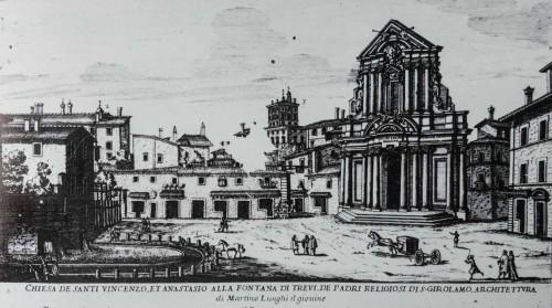 Fontanna di Trevi (po lewej) w II poł. XVII w., rycina - Giovanni Battista Falda
