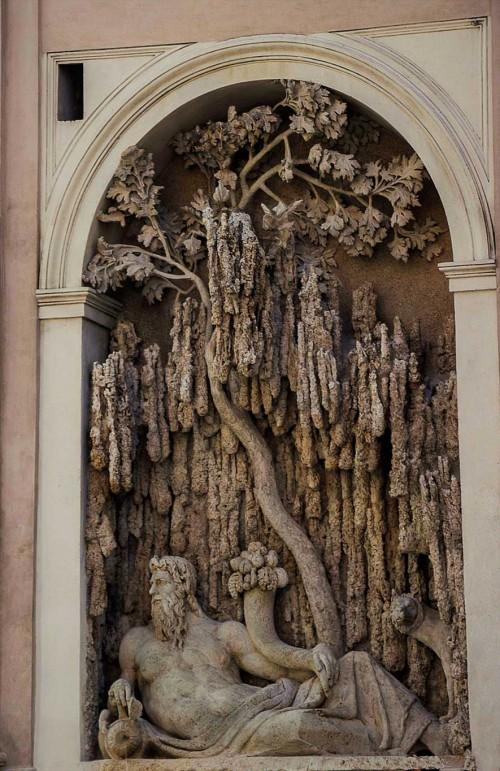 Domenico Fontana, personifikacja Tybru - jedna z czterech fontann koło kościoła San Carlo alle Quattro Fontane