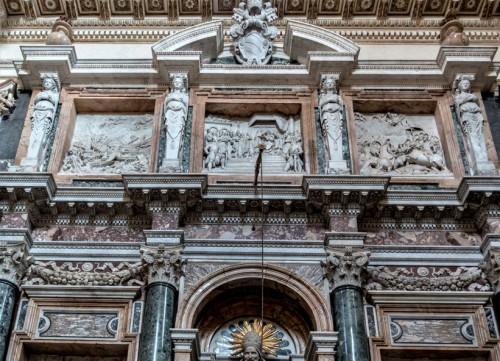 Domenico Fontana, design of the tombstone of Pope Pius V, Sistine Chapel (Cappella Sistina), fragment, Basilica of Santa Maria Maggiore