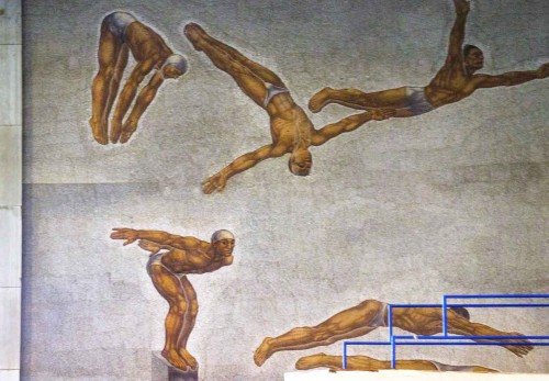 Foro Italico, pływalnia, mozaiki - dekoracja ścian