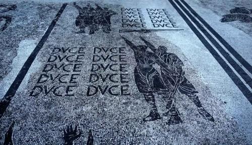 Piazzale dell'Impero, mosaics praising Mussolini