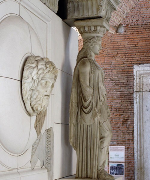 Caryatid and medallion of the colonnade of the Forum of Augustus, Museo dei Fori Imperiali