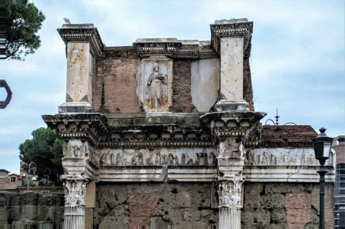 Two columns and a slab with an image of Minerva, Forum of Nerva