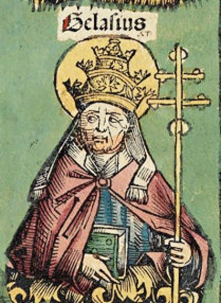 Papież Gelazy I, rycina z Kroniki norymberskiej, 1493r.,. zdj. Wikipedia