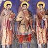 Cesarz Karol Łysy między papieżem Gelazym I i Grzegorzem I, Sakramentarz Karola Łysego, ok. 870 r, zdj. Wikipedia