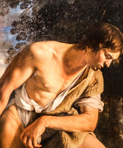 Orazio Gentileschi, Dawid z głową Goliata, fragment, Galleria Spada
