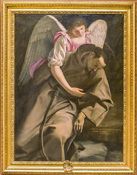 Orazio Gentileschi, Św. Franciszek podtrzymywany przez anioła, Galleria Nazionale d'Arte Antica, Palazzo Barberini
