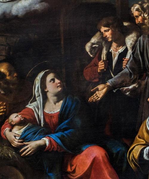 Antiveduto Grammatica, Adoracja pasterzy, fragment, kościół San Giacomo in Augusta