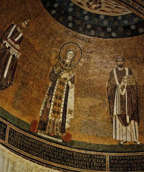 Pozostałości kościoła z VII w., po prawej papież Grzegorz I, absyda bazyliki Sant'Agnese fuori le mura