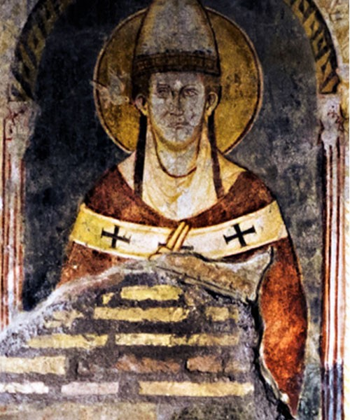 St. Gregory the Great, fresco from the XIII century, Church of San Saba