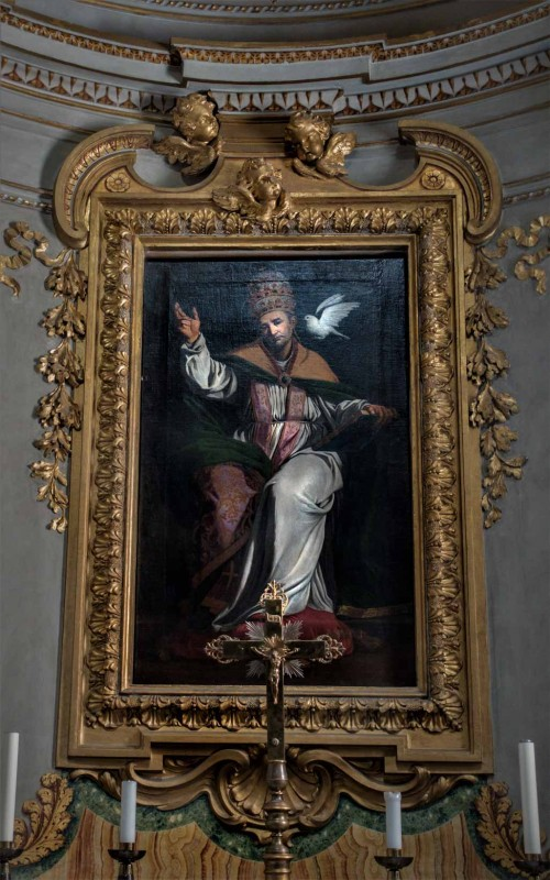 St. Pope Gregory inspired by the Holy Spirit, Sisto Badalocchio, start of the XVII century, Church of San Gregorio Magno
