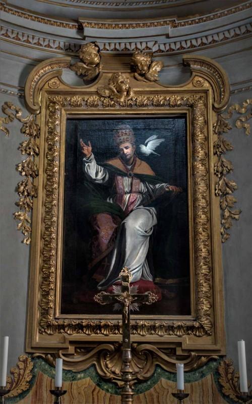 Św. papież Grzegorz natchniony przez Ducha Świętego, Sisto Badalocchio, początek XVII w., kościół San Gregorio Magno